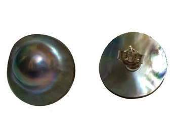 22mm Natural Gray Rondelle Sea Water Mabe Pearl Earring with Sterling Silver Stud