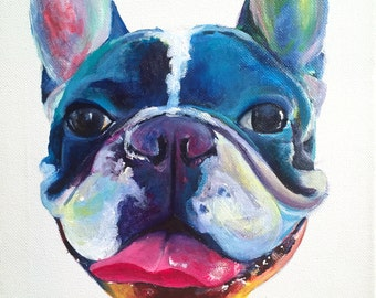 Colorful French Bulldog Modern Acrylic Painting on Canvas