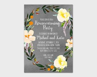Summer Floral Housewarming Party Invitation Printable Peach Floral Housewarming Invite New House New Home We've Moved 5x7 Digital File