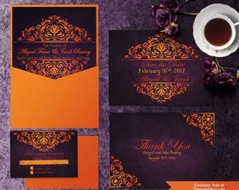 Printable Halloween Wedding Invitation Templates, Invitation Suite, Save the Date, Thank You Card, Purple and Orange Wedding, RSVP Card
