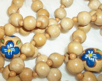 VINTAGE BEADED NECKLACE Hand Painted Wooden Bead Necklace Long