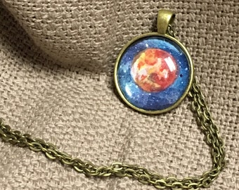 Galaxy Jewlery | Mars | Planetary Illustration | Watercolor Art Pendant Necklace