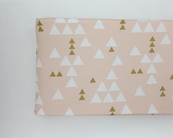 Changing Pad Cover - Peach with White and Gold Triangles