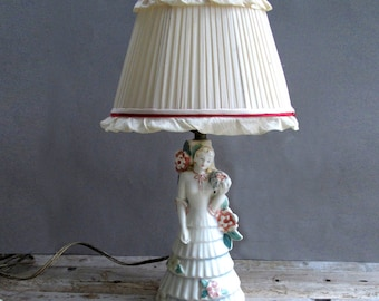 1930s Woman Porcelain Lamp with Silk Shade