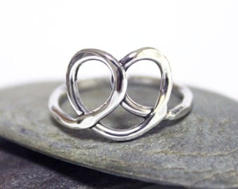 Heart Ring, Statement Ring, Hammered Ring, Little Pretzel Ring, Sterling Silver Ring, Cute Ring