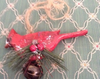 Christmas Cardinal with Bell Ornament