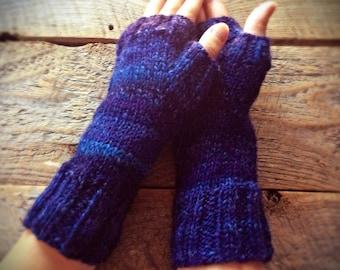 Blue fingerless gloves, gift under 50, fingerless gloves knit, unique, fingerless mittens, arm warmers, texting gloves, fingerless mitts her
