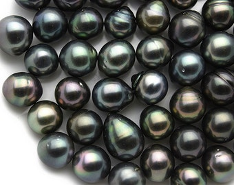 Oval, Rikitea - Loose Tahitian Pearls - (Dark Mix) AA Quality, sizes 10 to 11 mm (008) lot 246