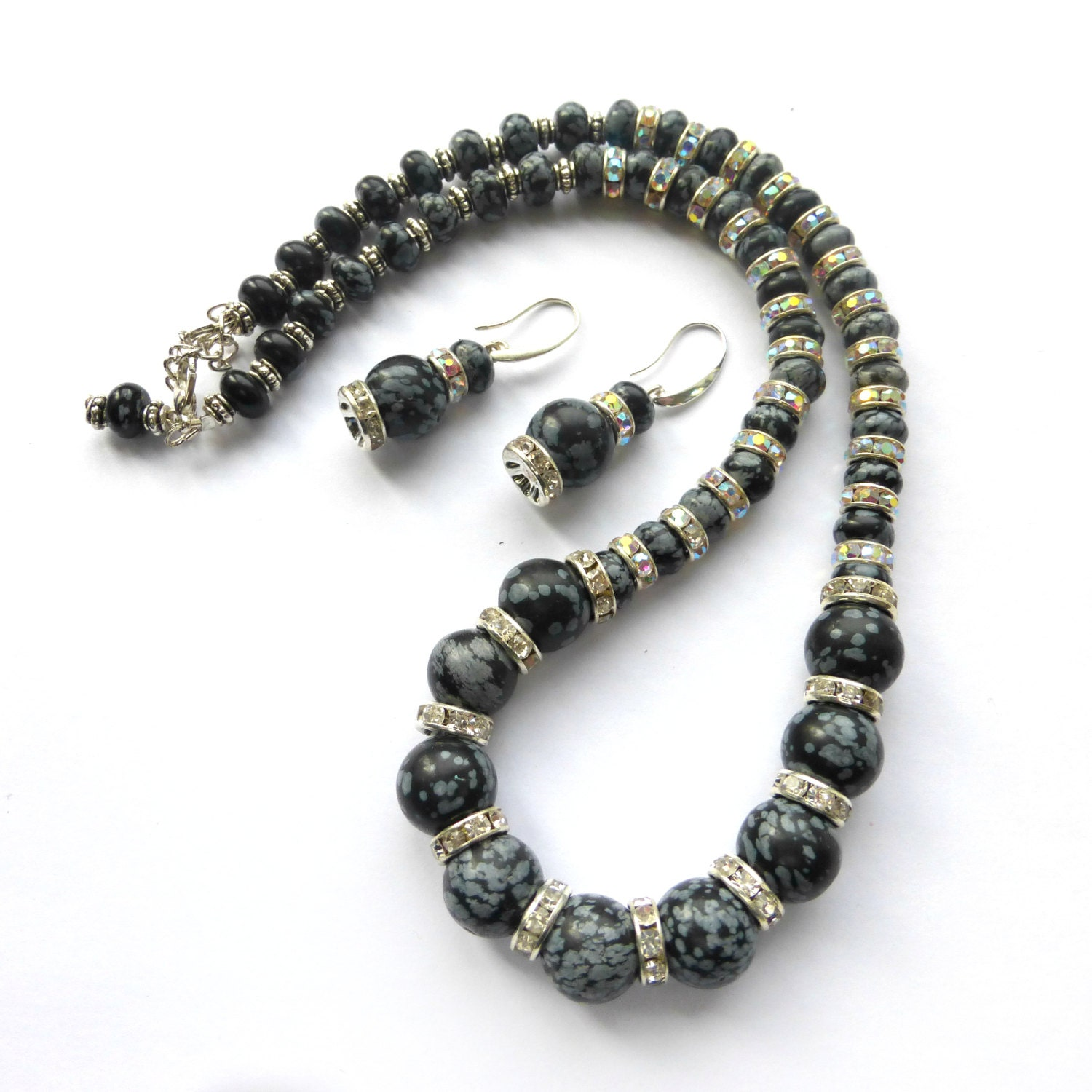 classic black snowflake obsidian necklace earrings jewelry set