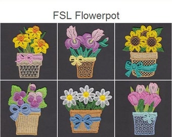 FSL Flowerpot- Free Standing Lace Machine Embroidery Designs Instant Download 4x4 hoop 10 designs SHE5149