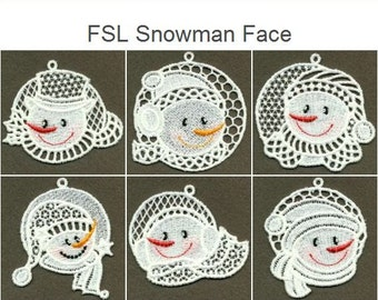 FSL Snowman Face - Free Standing Lace Machine Embroidery Designs Instant Download 4x4 hoop 10 designs SHE1701