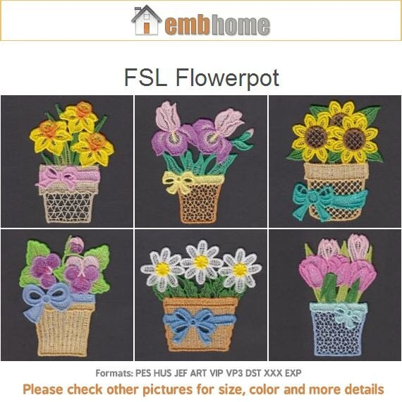 Stand Alone Lace Embroidery Designs : Fsl flowerpot free standing lace machine embroidery