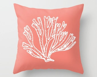 Coral Branch Pillow Cover - Coral Branch Throw Pillow Cover - Nautical Pillow Cover - Nautical Decor - Summer Decor - By Aldari Home