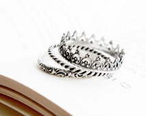 Sterling silver triple staking crown ring, Crown ring, set of 3  silver stackable rings, set of rings, stack rings
