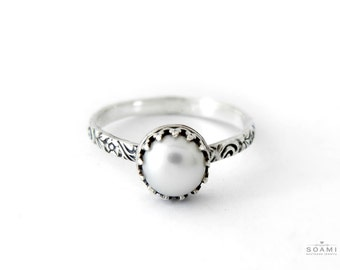 Silver Pearl ring, silver ring with pearl, statement ring silver