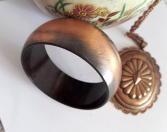 Copper bronze tone bangle, rustic renaissance, shiny bangle vintage costume jewelry, upcycling