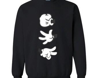 Cartoon Hands Mickey Hands Rock Paper Scissor CREWNECK Sweatshirt - Rock Paper Scissor Tshirt - Cartoon Character Sweatshirt  Sweater