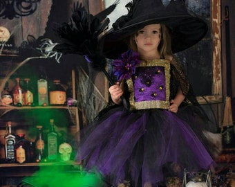 Witch costume, witch tutu dress,hocus pocus dress,pageant dress, Halloween costume, purple black witch costume tutu dress