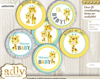 Baby Giraffe Cupcake Toppers for Baby Shower Printable DIY, favor tags, circles, It's a Baby, Neutral - oz80bGYM0