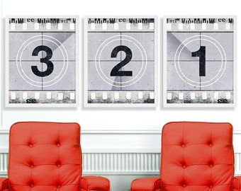 Three Movie Art Prints Black and White Movie Print Wall Art Numbers Film Strip Vintage Film Reel Industrial Art Living Room Decor Hipster