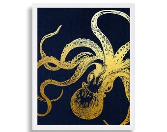 Octopus Art Print Faux Gold Foil Print Navy Blue Art Canvas Art Look Gold Octopus Print Vintage Decor Hipster Wall Art Cool Print