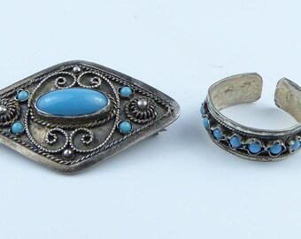 Silver brooch and matching ring - High purity silver