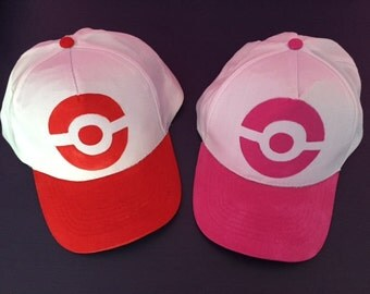 Pokemon Trainer hat cap Pink, Red or Blue