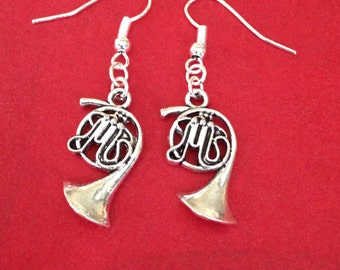French Horn Earrings, French Horn Charm Earrings, Musical Gifts