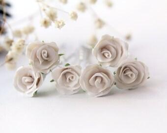White rose bridal hair pin, set of 6 blossom hair accessories, rose pin, Wedding hair accessories, Bridal hair flower, Bride flower pin