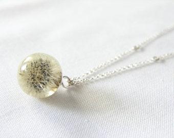 Very Little Fluffy Dandelion Resin Necklace, Real Dandelion, Dandelion Ball Necklace, Whole Dandelion Necklace