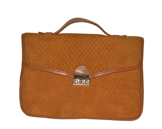 Etra Vintage Estate Tan Suede Clutch Handbag
