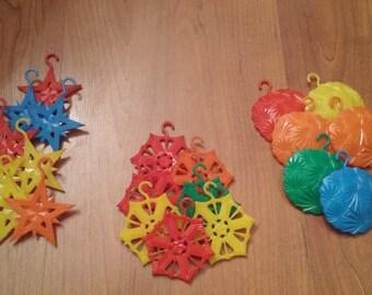 Vintage Plastic Ornaments Multiple Colors