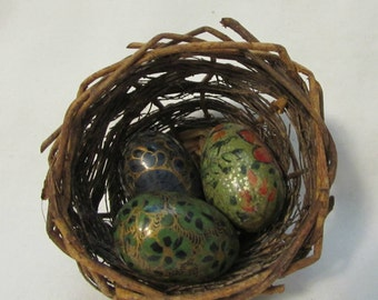 Eggs in Basket/Nest, Cloisonne Eggs, Set of Three, 1970's