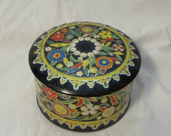Tin With Lid, Round, Daher, England, Floral Pattern