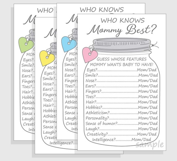 Who Knows Mommy Best Baby Shower Game Printable Diy Cell