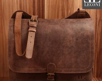 LECONI Briefcase Messenger Bag College bag ladies men vintage buffalo leather Brown LE3020-vin