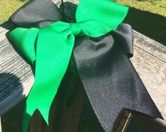 Cheer Bow. 7 Inch Cheer Bow. Black Cheer Bow. Green Cheer Bow. Black & Green Cheer Bows. Cheerleader Bows.