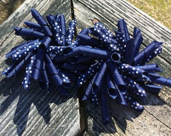 Back To School,  Blue Curly Bows, Blue & White Dotted School Uniform Curly Bows, Uniform Korker Bows, Curly Piggy Tail Bows, Korker Bow