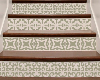 stair stickers ornate vinyl tile decals for stair risers. Black Bedroom Furniture Sets. Home Design Ideas