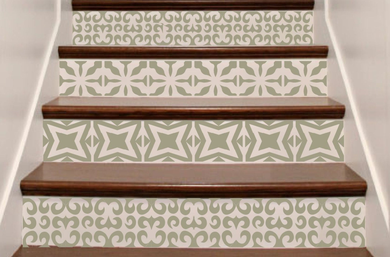 Vinyl Stair Decals Riser 'Tiles' . Staircase Decal