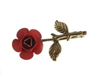 Gold Plated Red Flower Pin