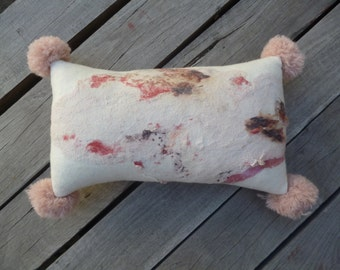 One-of-a-kind cushion, hand stitched, abstract, felted, wool, nuno