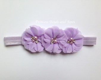 Triple Flower Lavender Purple Headband, Purple Shabby Chic Flower Headband,  Baby Headband, Girls Headband, Newborn Headband