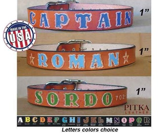 Large Leather Dog Collar - Fashion dog Collars - Personalized Dog Collars for Big Dogs - Custom made British Tan Leather Collars with name