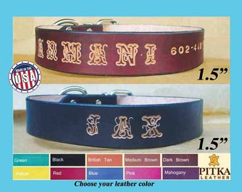 Hand made Dog Collars - Western Dog Collars - Large Breed Dog Collars Custom made - Big Dogs Collars Personalized with name - Made in USA