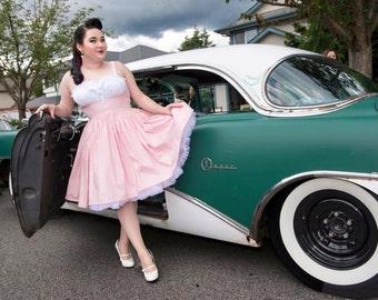 Pinup Dress - Pin Up Sun Dress - Sundress - Pink Sundress - Retro Beach Dress - Sleeveless Dress - Custom size - Made to Measure - Plus Size