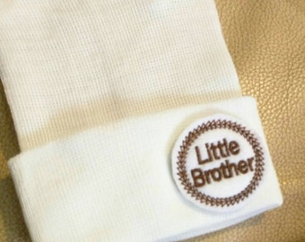A Best Seller! Newborn Hospital Hat. Now w/ Brown Little Brother Applique.  Every New Baby Boy Should Have! Adorable!