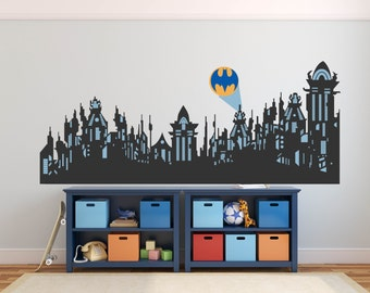 Fabric Wall Decal City Skyline   Super Hero Wall Decal   Gotham City Wall  Decal   Part 66