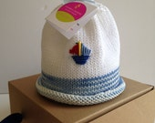 Baby Hat Newborn Boy Sailboat Colorful Crowns