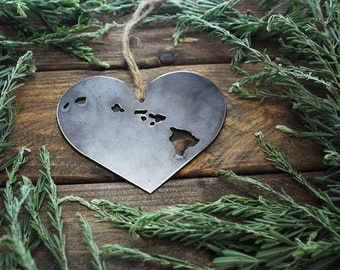 Love Hawaii Steel Ornament Rustic HI Metal State Heart Decoration Stocking Stuffer Holiday Gift Travel Keepsake Wedding Favor